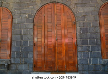 Wooden doors of ancient fortress in Port Louis, Mauritius.