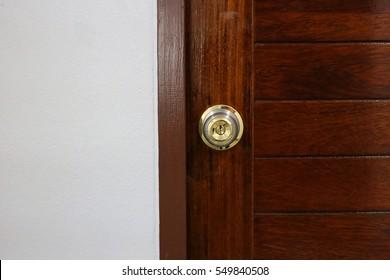 Wooden doors, door knobs