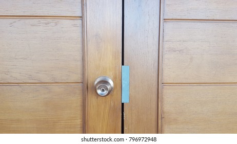 Wooden doors and knobs.