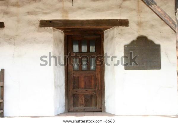 wooden doorway in landmark building
