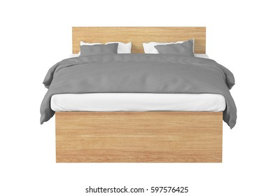 Wooden double bed with gray linen isolated on white background.  3d render