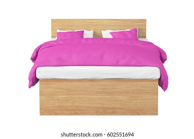 Wooden double bed with pink linen isolated on white background. Include clipping path. 3d render