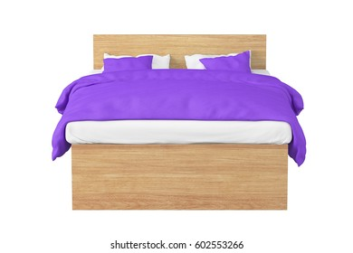 Wooden double bed with violet linen isolated on white background. Include clipping path. 3d render