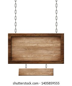 Wooden double sign made of natural wood and with dark frame hang