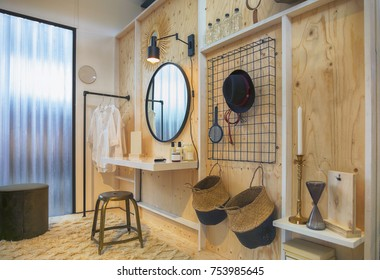 wooden dressing area in bed room