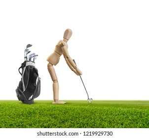 Wooden dummy doll and golf bag,accessories, Wood figure putt golf ball on green isolated on white background The concept of sports tourism and leisure.