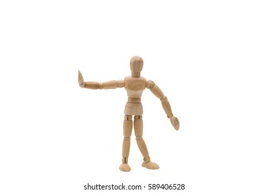 Wooden dummy Hands up isolated on a white background.