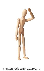 Wooden Dummy Isolated Over White Background with clipping path