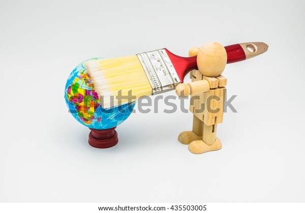 Wooden Dummy Stand Convert Grip Brush Stock Photo (Edit Now