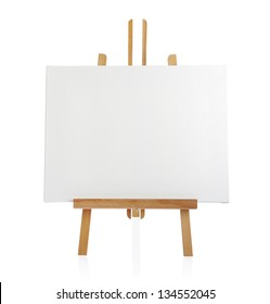 wooden easel with blank canvas isolated on white background