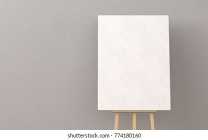 Wooden easel with blank canvas in a living room. minimal style concept.