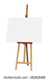 Wooden Easel with Blank Painting Canvas as Copy Space for Mock Up Isolated on White Background