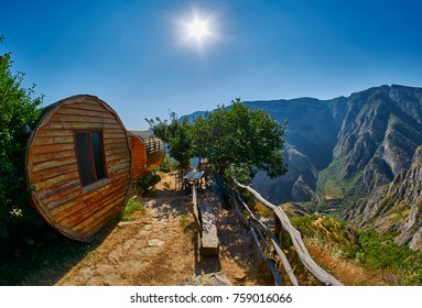 Wooden eco cottage of Vorotan river Gorge in Armenia