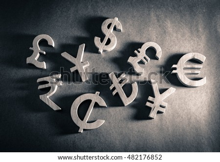 Wooden economy and currency unit on paper background