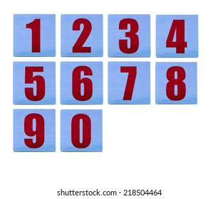 wooden educational blocs with numbers on white
