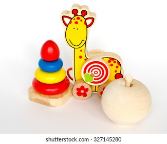 wooden educational toys - Pyramid, Wheel giraffe, apple.