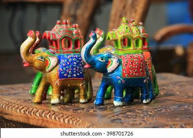 Wooden Elephants sold as souvenir at Dilli Haat, Delhi