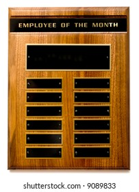 """Wooden """"Employee of the Month"""" Award with Copy Space"""