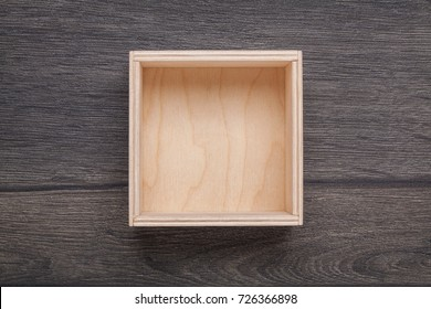 Wooden empty box on background. Top view.