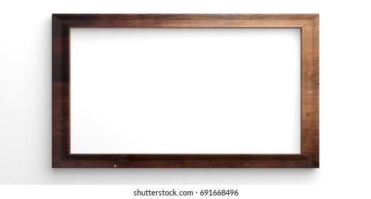 Wooden empty frame on white background. 3d illustration