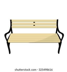 Wooden empty park bench raster isolated, garden furniture