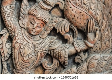 The wooden engraving ancient Buddhist gods