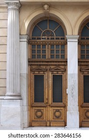 Wooden entrance closed door on old building