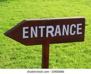 Wooden entrance sign