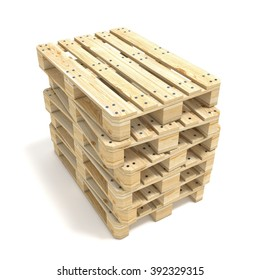 Wooden Euro pallets. 3D render illustration isolated on white background