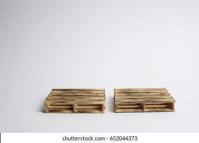 Wooden Euro pallets or pine wood isolated on white background.
