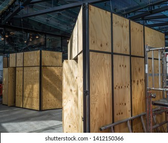 Wooden exhibition containers (There is no model release required as all logos removed)