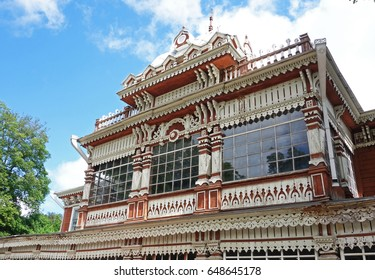 Wooden facade building. Summer Club of the Noble Assembly, 1905. Ryazan, Russia