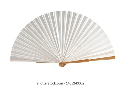 wooden fan and cloth on white background