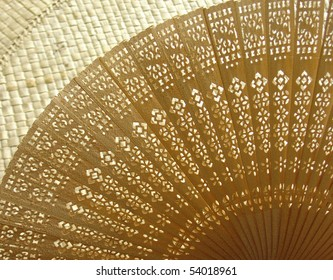 wooden             fan ethnography style