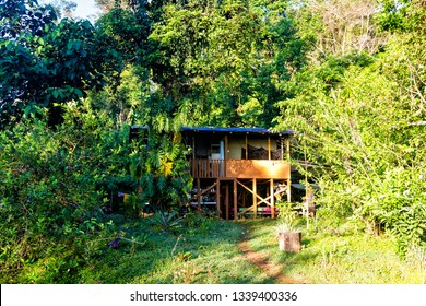Wooden farm house in the middle of a forest or jungle, Corcovado National Park, Costa Rica. This house serves tourist as accommodation near the national park boundaries..