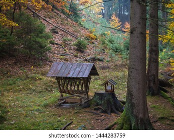 wooden feeder or manger for wild animals in the forest. Feeding trough with hay for wild boars, deer and birds in the atumn forest.