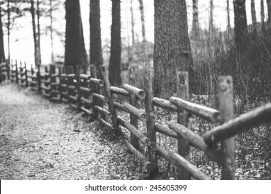 Wooden fence in black and white.