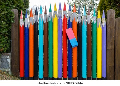 Wooden fence from colored crayons