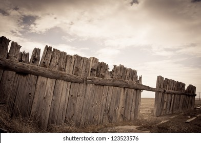 Wooden fence ghost town united states