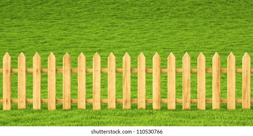 wooden fence in the grass.