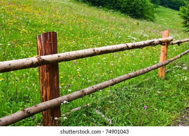 wooden fence in a green pasture