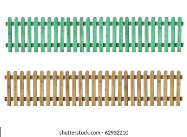 a wooden fence isolated on white