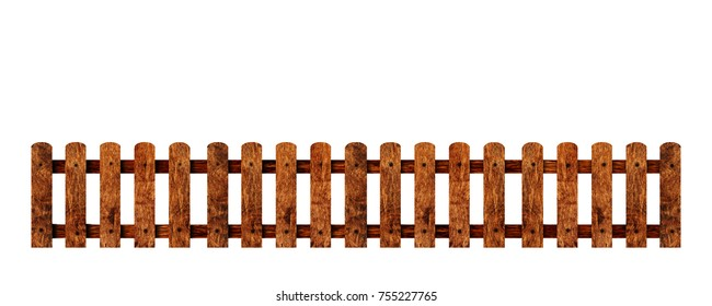 Wooden fence isolated white background with clipping path.