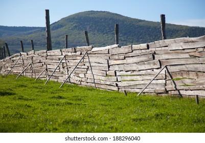 Wooden fence. Mountain landscape