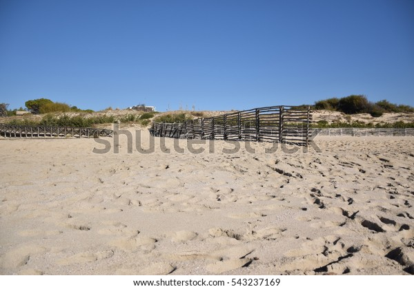 Wooden Fence On Sand Taranto Apulia Stock Photo (Edit Now ...