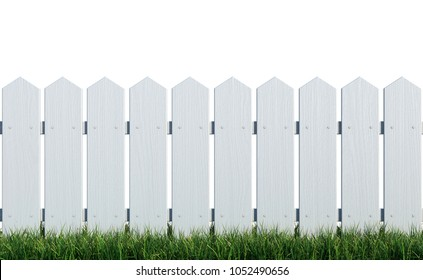 Wooden fence painted white on grass with white background 3d rendering