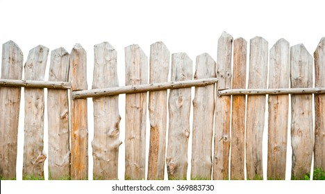 Wooden fence planks, isolated on white