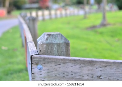 Wooden fence portrait in the park