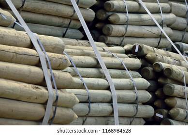 Wooden Fence Posts Bundled for transport