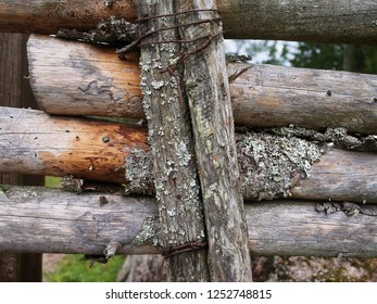 Wooden fence in Smaland, closeup